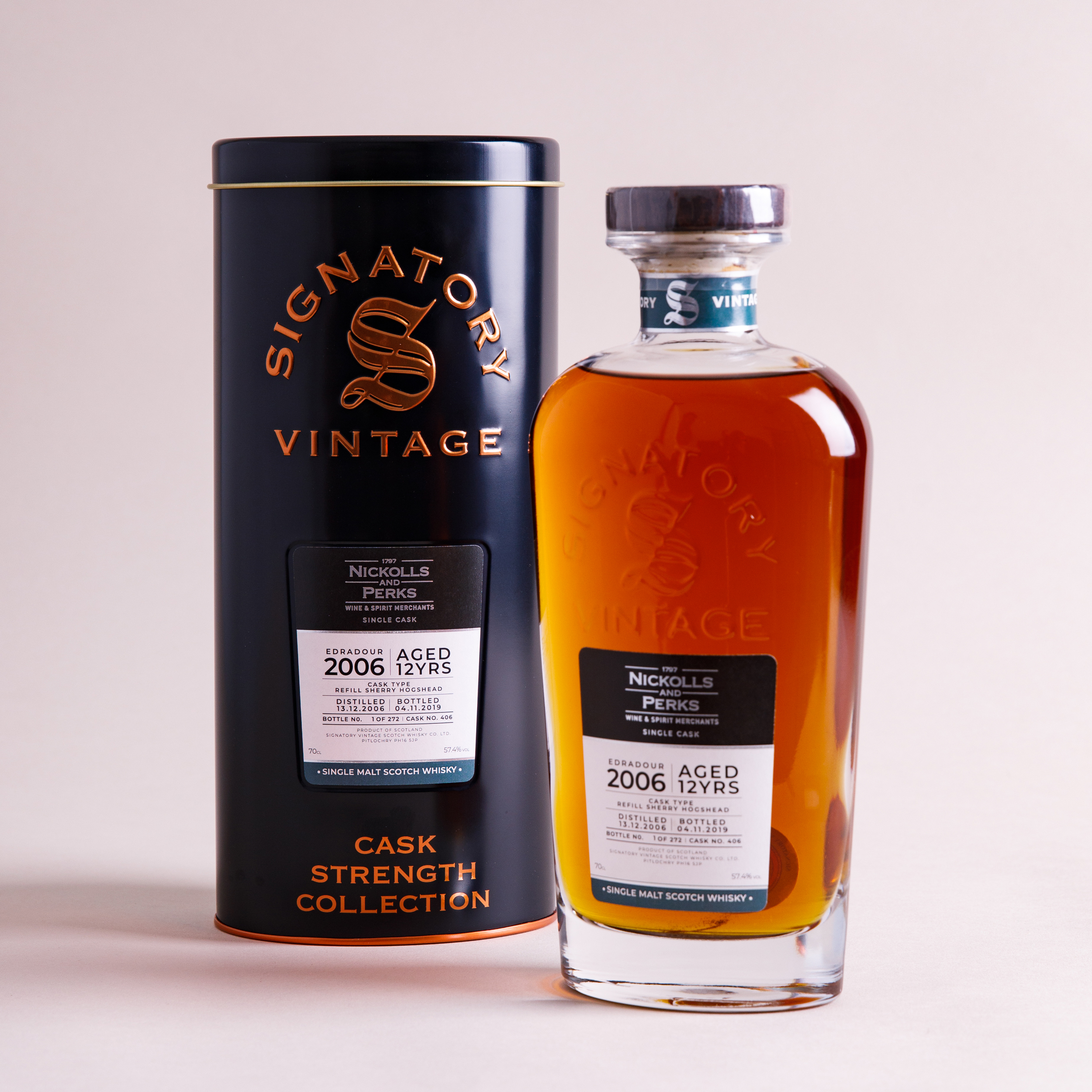 Edradour 12 Year Old 2006 (cask 406) - Signatory Cask Strength Collection (Nickolls & Perks Exclusive)